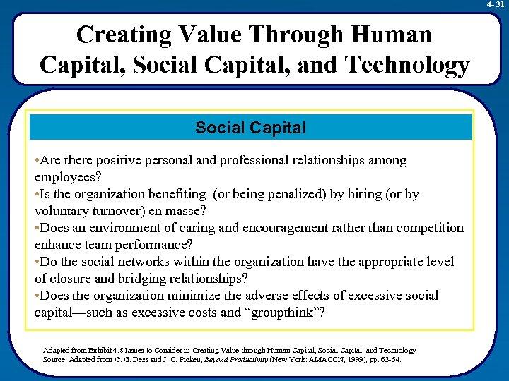 4 - 31 Creating Value Through Human Capital, Social Capital, and Technology Social Capital