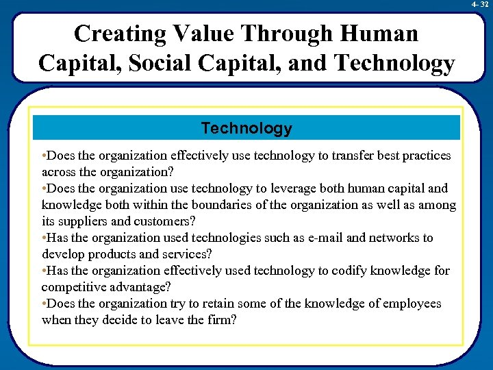 4 - 32 Creating Value Through Human Capital, Social Capital, and Technology • Does