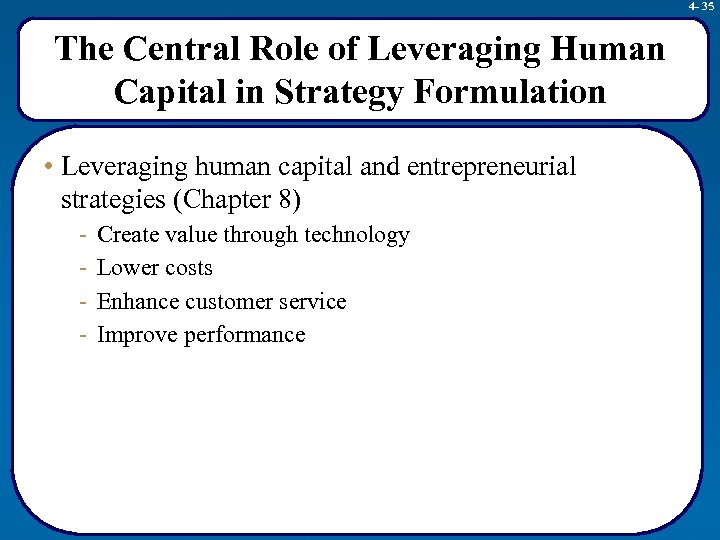 4 - 35 The Central Role of Leveraging Human Capital in Strategy Formulation •