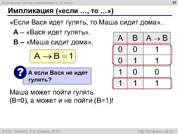 17 Логические основы компьютеров, 10 класс Импликация ( «если …, то …» ) «Если