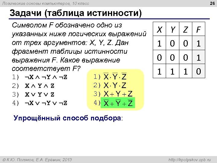 26 Логические основы компьютеров, 10 класс Задачи (таблица истинности) Символом F обозначено одно из