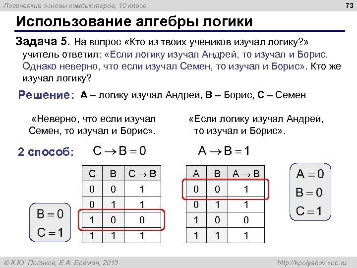 73 Логические основы компьютеров, 10 класс Использование алгебры логики Задача 5. На вопрос «Кто