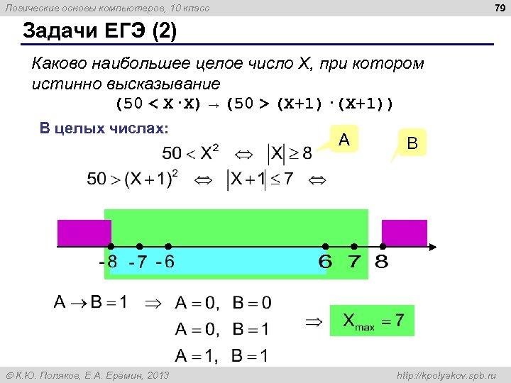 79 Логические основы компьютеров, 10 класс Задачи ЕГЭ (2) Каково наибольшее целое число X,