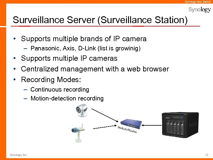 Synology Disk Station Surveillance Server (Surveillance Station) • Supports multiple brands of IP camera