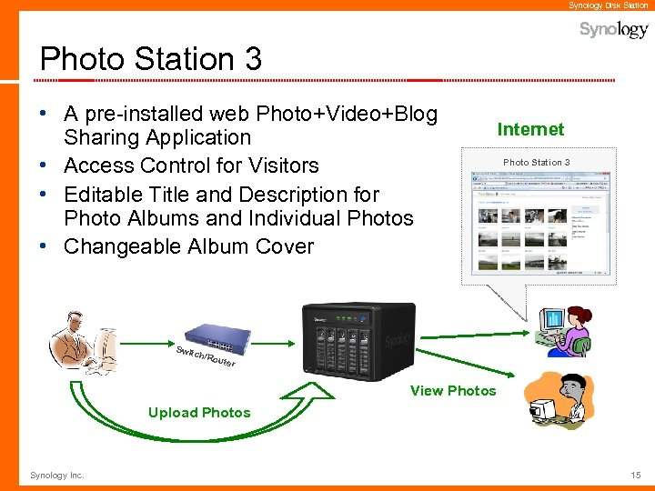 Synology Disk Station Photo Station 3 • A pre-installed web Photo+Video+Blog Sharing Application •