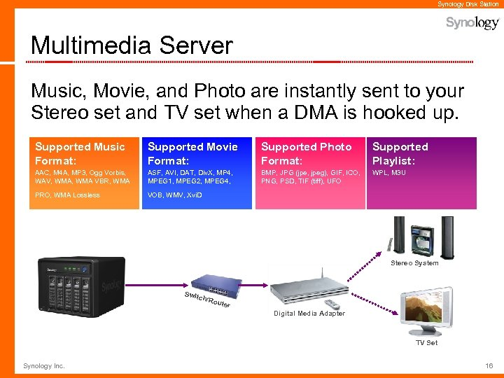 Synology Disk Station Multimedia Server Music, Movie, and Photo are instantly sent to your