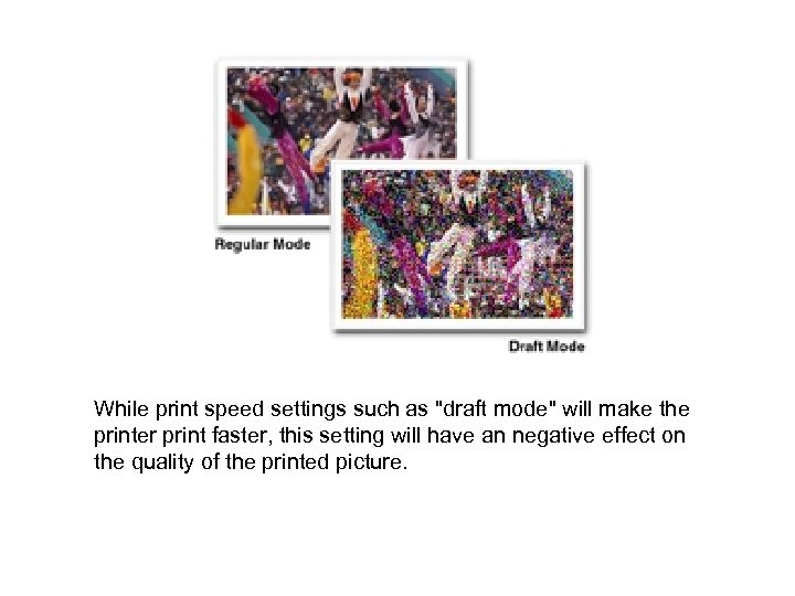 While print speed settings such as