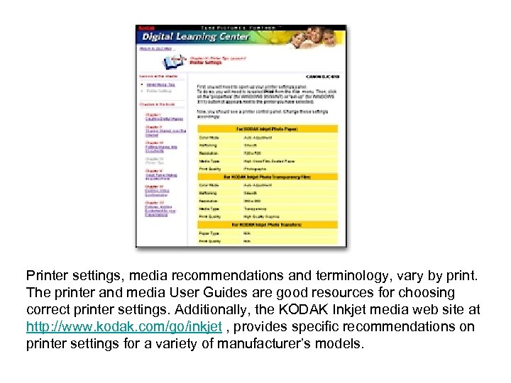 Printer settings, media recommendations and terminology, vary by print. The printer and media User