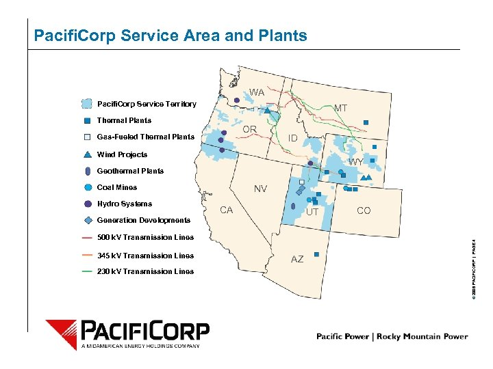 Pacifi. Corp Service Area and Plants WA Pacifi. Corp Service Territory MT Thermal Plants
