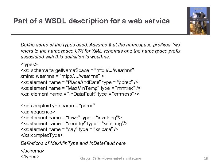 Part of a WSDL description for a web service Define some of the types