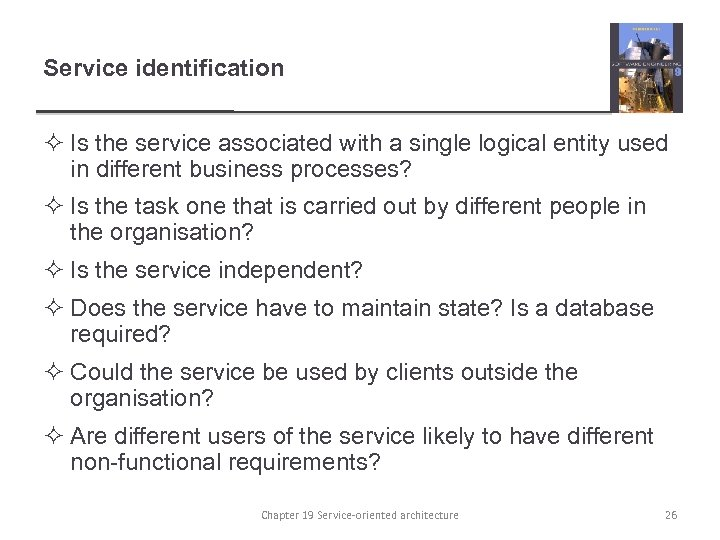 Service identification ² Is the service associated with a single logical entity used in