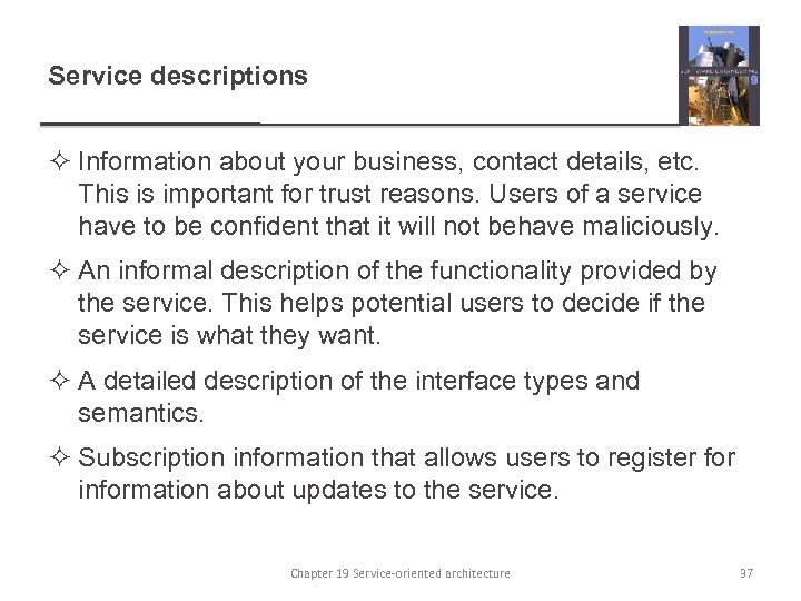Service descriptions ² Information about your business, contact details, etc. This is important for