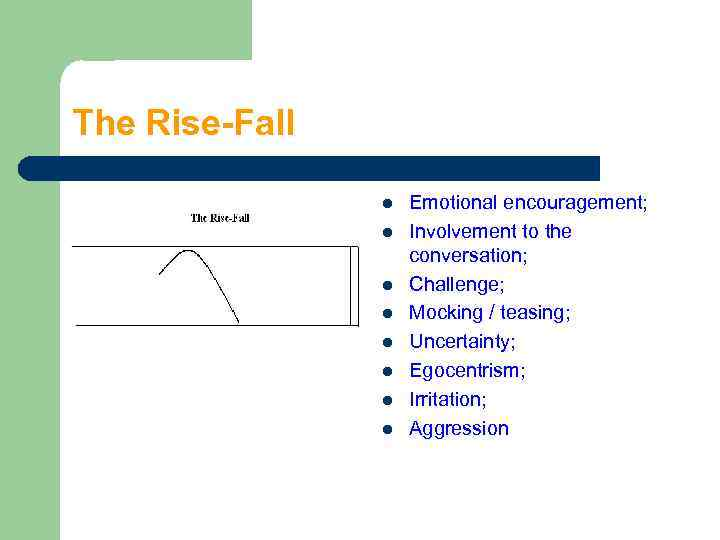 The Rise-Fall l l l l Emotional encouragement; Involvement to the conversation; Challenge; Mocking