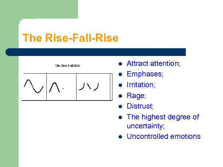 The Rise-Fall-Rise l l l l Attract attention; Emphases; Irritation; Rage; Distrust; The highest
