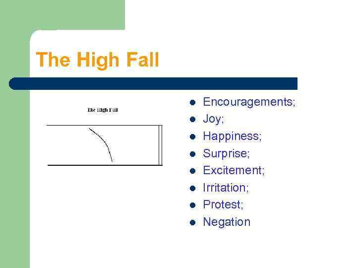 The High Fall l l l l Encouragements; Joy; Happiness; Surprise; Excitement; Irritation; Protest;