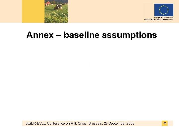 Annex – baseline assumptions ABER-BVLE Conference on Milk Crisis, Brussels, 29 September 2009 38