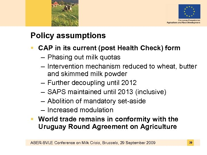 Policy assumptions § CAP in its current (post Health Check) form – Phasing out