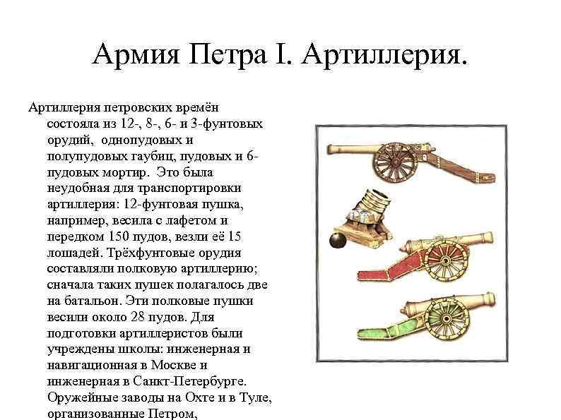 Армия Петра I. Артиллерия петровских времён состояла из 12 -, 8 -, 6 -