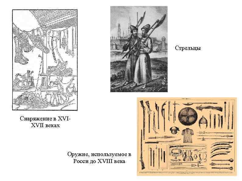 Стрельцы Снаряжение в XVIXVII веках Оружие, используемое в Росси до XVIII века
