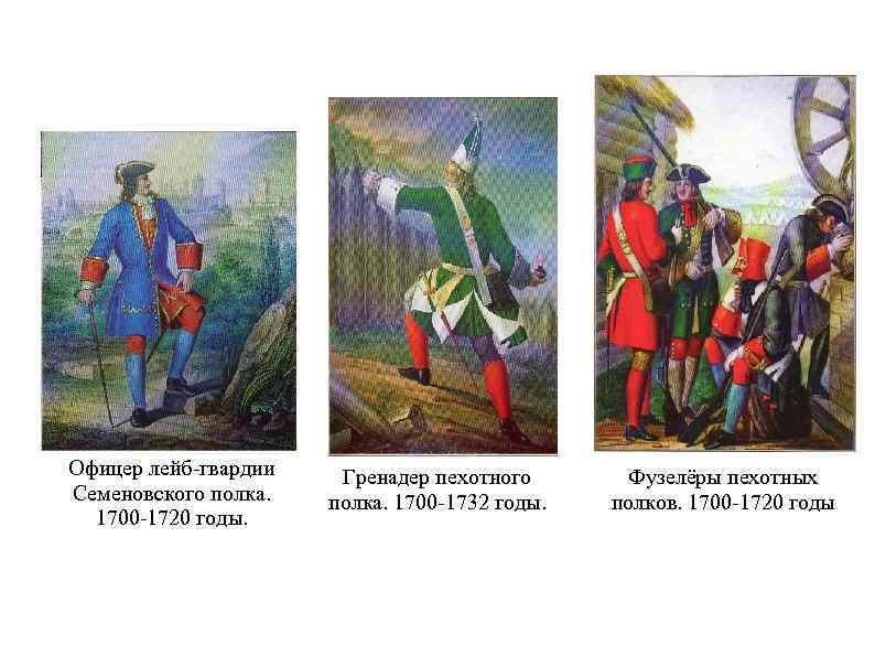 Офицер лейб-гвардии Семеновского полка. 1700 -1720 годы. Гренадер пехотного полка. 1700 -1732 годы. Фузелёры