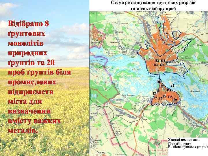 Відібрано 8 ґрунтових монолітів природних ґрунтів та 20 проб ґрунтів біля промислових підприємств міста