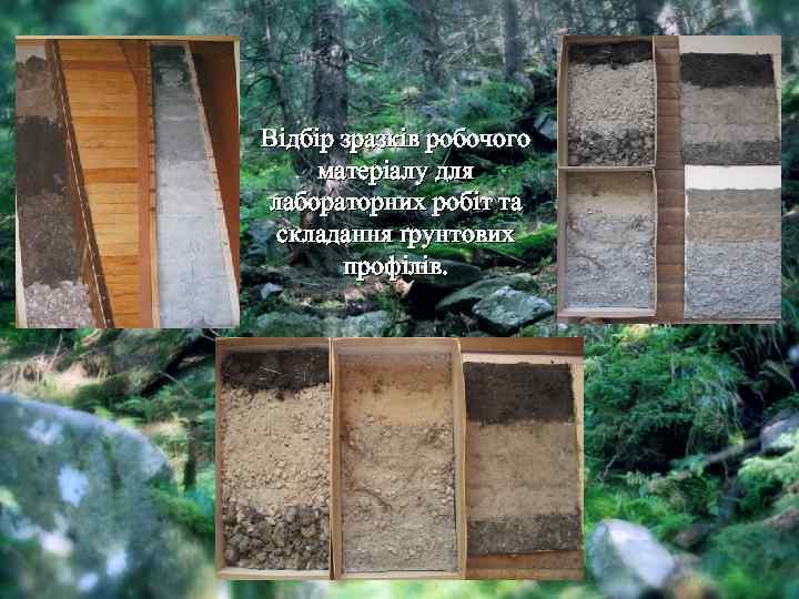 Відбір зразків робочого матеріалу для лабораторних робіт та складання ґрунтових профілів.