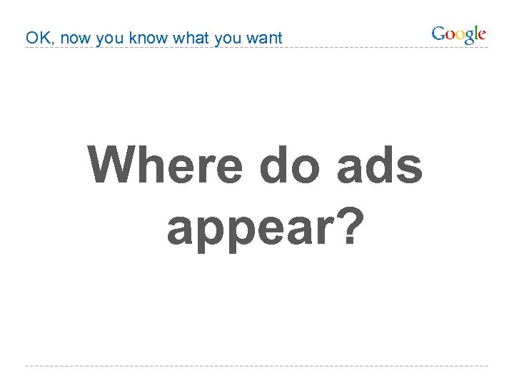 OK, now you know what you want Where do ads appear?