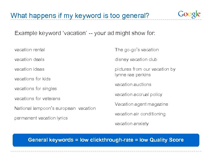 What happens if my keyword is too general? Example keyword 'vacation' -- your ad