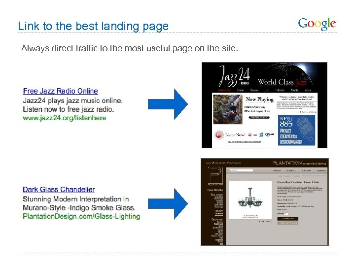 Link to the best landing page Always direct traffic to the most useful page