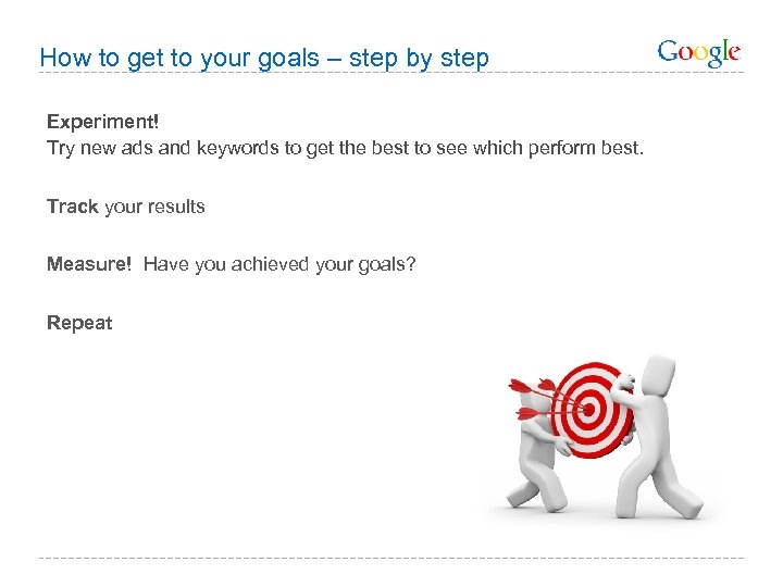 How to get to your goals – step by step Experiment! Try new ads