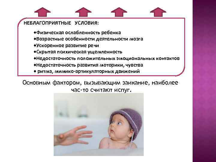 НЕБЛАГОПРИЯТНЫЕ УСЛОВИЯ: ·Физическая ослабленность ребенка ·Возрастные особенности деятельности мозга ·Ускоренное развитие речи ·Скрытая психическая