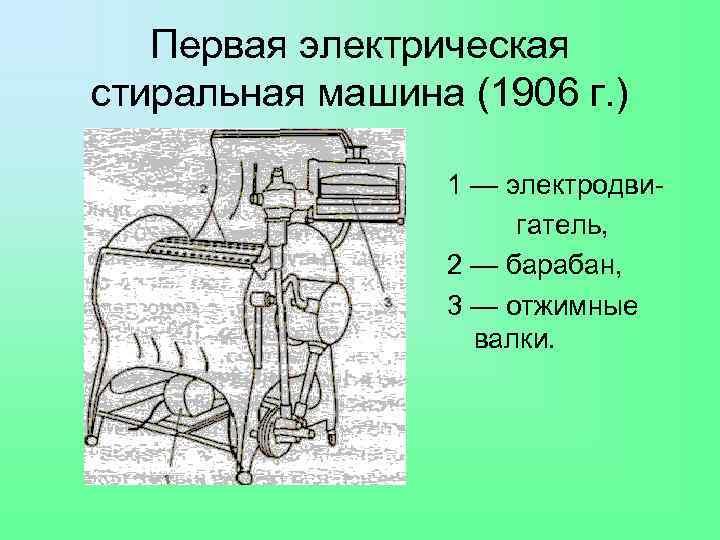 Первая электрическая стиральная машина (1906 г. ) 1 — электродвигатель, 2 — барабан, 3