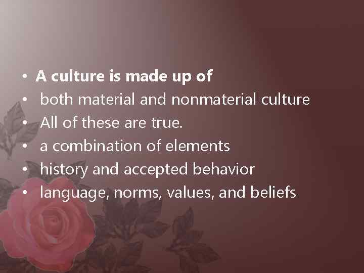 • • • A culture is made up of both material and nonmaterial