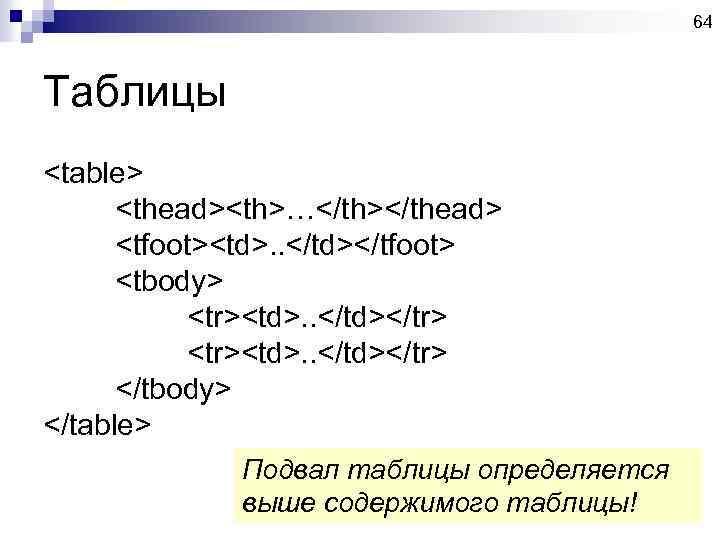 64 Таблицы <table> <thead><th>…</th></thead> <tfoot><td>. . </td></tfoot> <tbody> <tr><td>. . </td></tr> </tbody> </table> Подвал