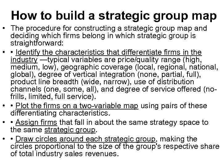 How to build a strategic group map • The procedure for constructing a strategic