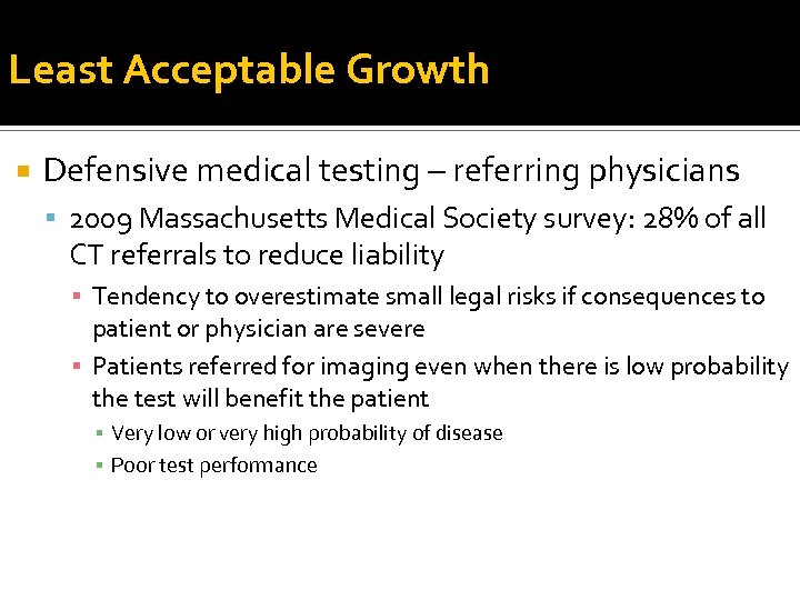 Least Acceptable Growth Defensive medical testing – referring physicians 2009 Massachusetts Medical Society survey: