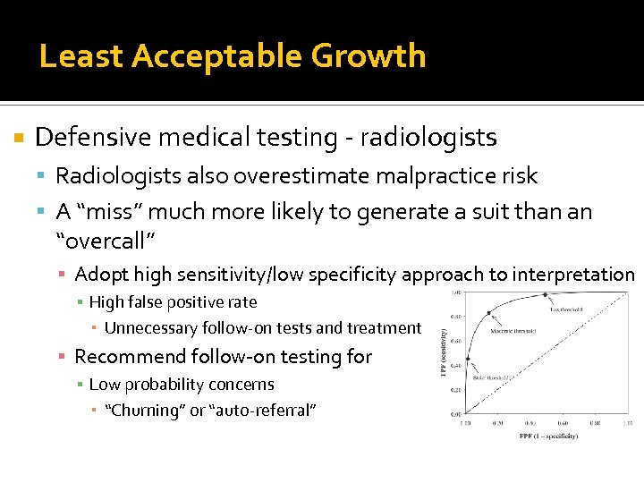 Least Acceptable Growth Defensive medical testing - radiologists Radiologists also overestimate malpractice risk A