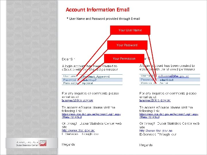 Account Information Email * User Name and Password provided through E-mail 1 - Choose