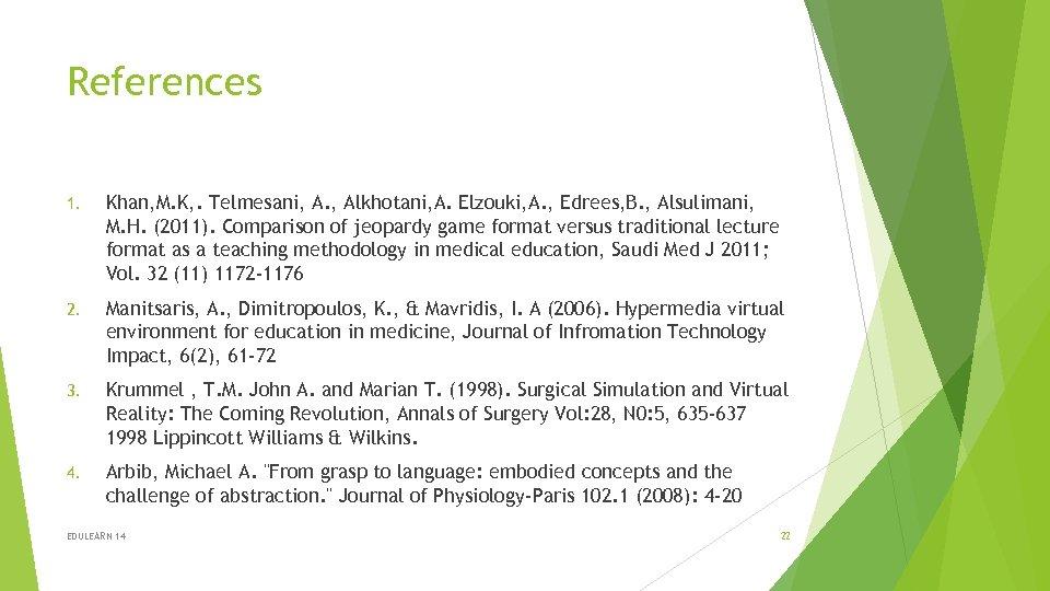 References 1. Khan, M. K, . Telmesani, A. , Alkhotani, A. Elzouki, A. ,