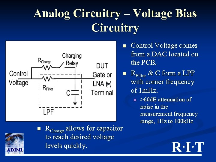 Analog Circuitry – Voltage Bias Circuitry n n Control Voltage comes from a DAC