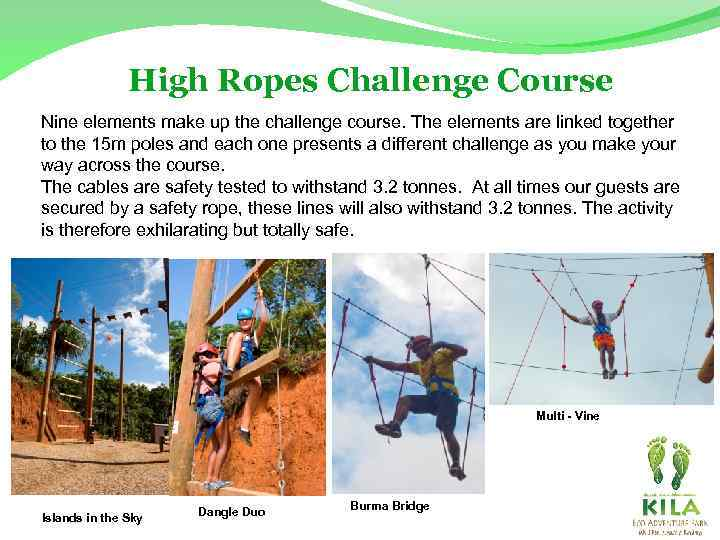 High Ropes Challenge Course Nine elements make up the challenge course. The elements are
