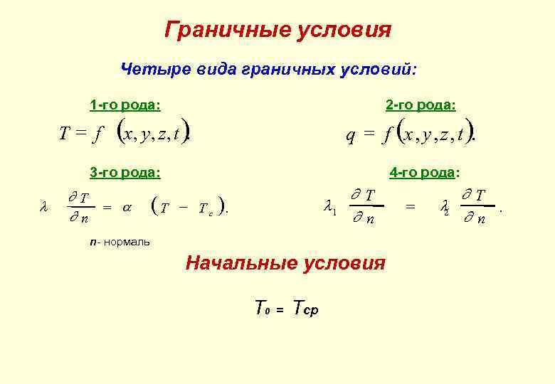 Граничные условия Четыре вида граничных условий: 1 -го рода: T= f 2 -го рода: