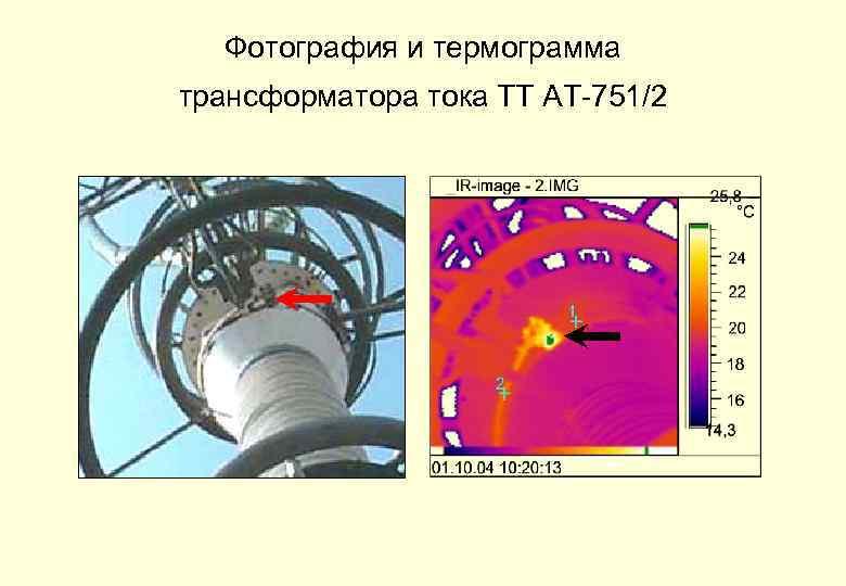 Фотография и термограмма трансформатора тока ТТ АТ-751/2