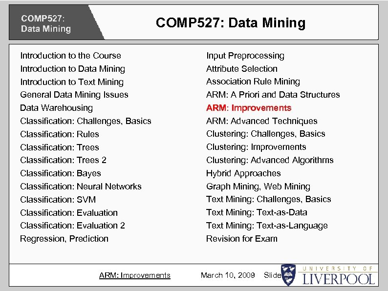 COMP 527: Data Mining Introduction to the Course Introduction to Data Mining Introduction to