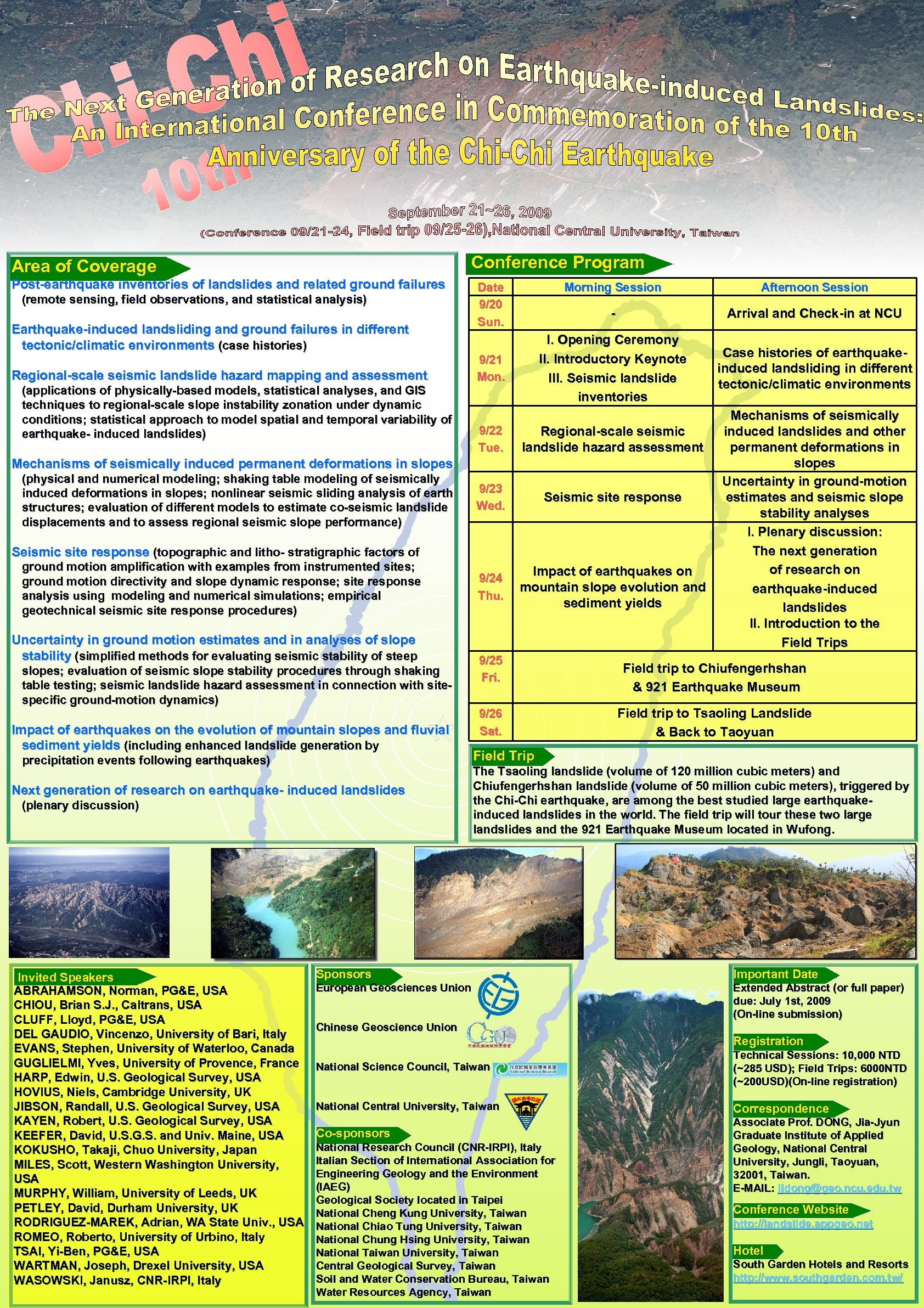 Conference Program Area of Coverage Post-earthquake inventories of landslides and related ground failures (remote