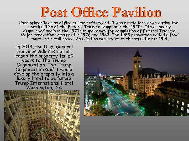 Used primarily as an office building afterward, it was nearly torn down during the