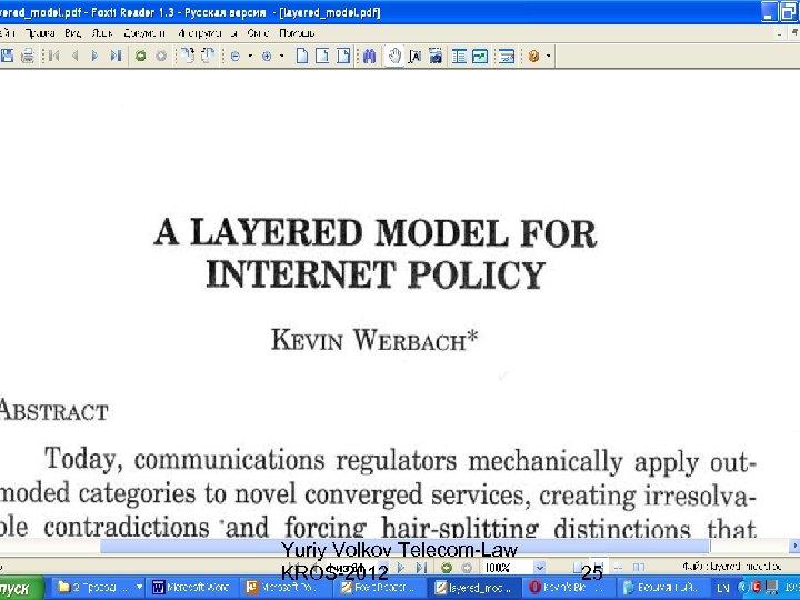 Yuriy Volkov Telecom-Law KROS-2012 25