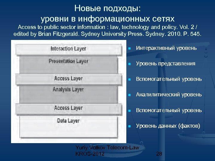 Новые подходы: уровни в информационных сетях Access to public sector information : law, technology