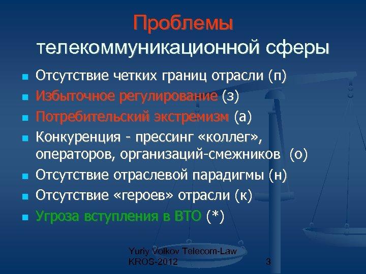 Проблемы телекоммуникационной сферы Отсутствие четких границ отрасли (п) Избыточное регулирование (з) Потребительский экстремизм (а)