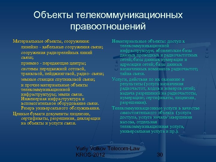Объекты телекоммуникационных правоотношений Материальные объекты, сооружения: линейно - кабельные сооружения связи; сооружения радиорелейных линий